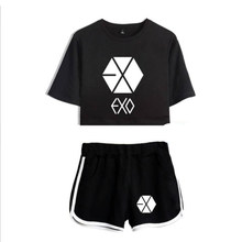 KPOP Korean EXO Crop Top T Shirt+Short Pants Tracksuit For Women 2 Piece Set Fitness Shorts Two Piece Outfits Casual Suits(China)