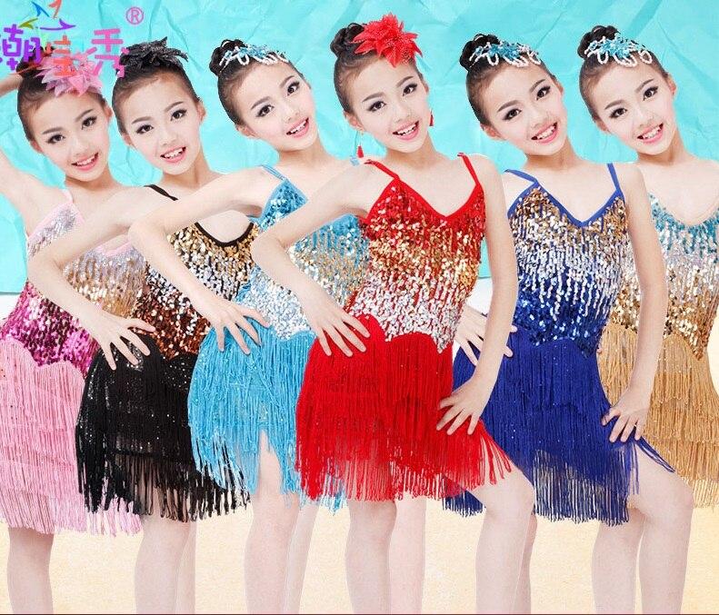 Rainbow Sequin Fringe Latin Dance Dresses For Sale Girls Children Salsa Performance Dresses