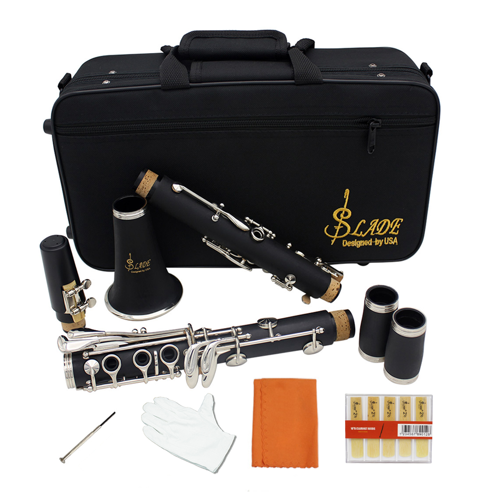 Clarinet Bakelite 17 Key Bb Flat Soprano Clarinet Nickel Plating with Cleaning Cloth Gloves 10 Reeds Screwdriver