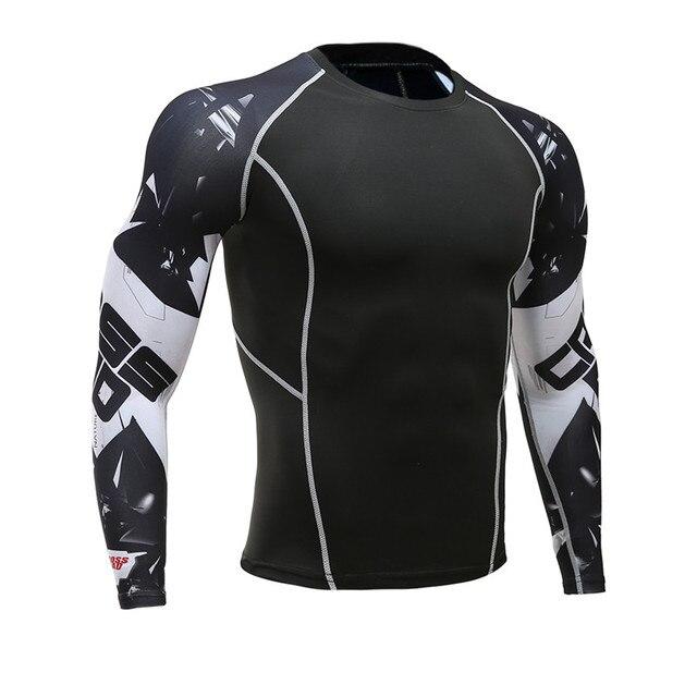 Для мужчин S Фитнес одежда с длинным рукавом Рашгард футболка Для мужчин Бодибилдинг кожу жесткой Термальность сжатия Рубашки для мальчиков ММА crossfit тренировки Топ Шестерни