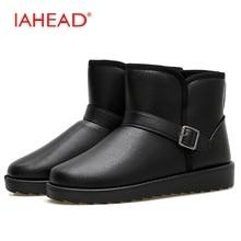 Iahead Мужские зимние сапоги Для мужчин кожаные повседневные ботинки Новинка 2017 года Зима пух с Обувь Для мужчин мягкая дождь Обувь мужские полусапоги MH571