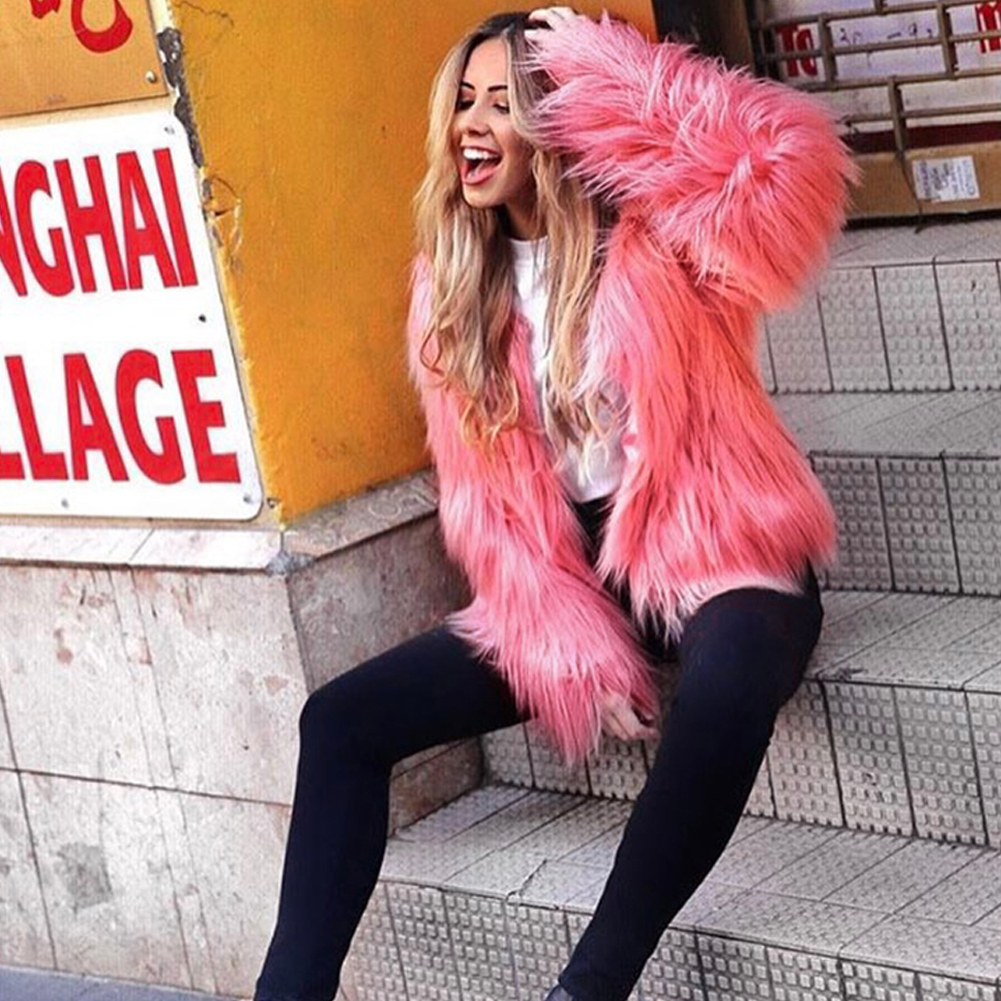 Fashion Furry Faux Fur Coat Women Fluffy Warm Long Sleeve Female Outerwear Autumn Winter Coat Jacket Hairy Collarless Overcoat 18