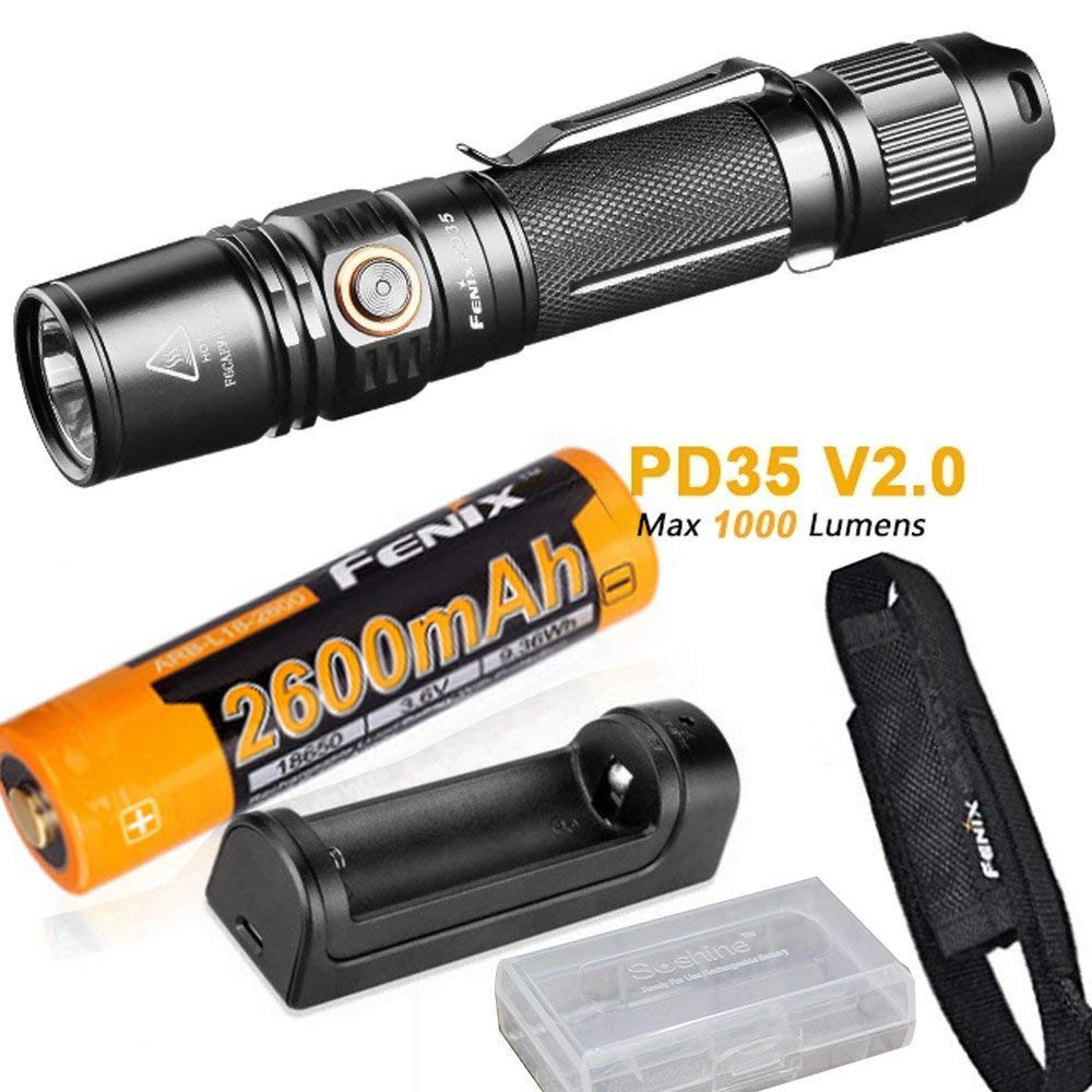 Fenix PD35 V2.0 2018 Upgrade 1000 Lumen Flashlight with ith ARB-L18-2600 18650 Battery,ARE-X1 charger,holster,battery case