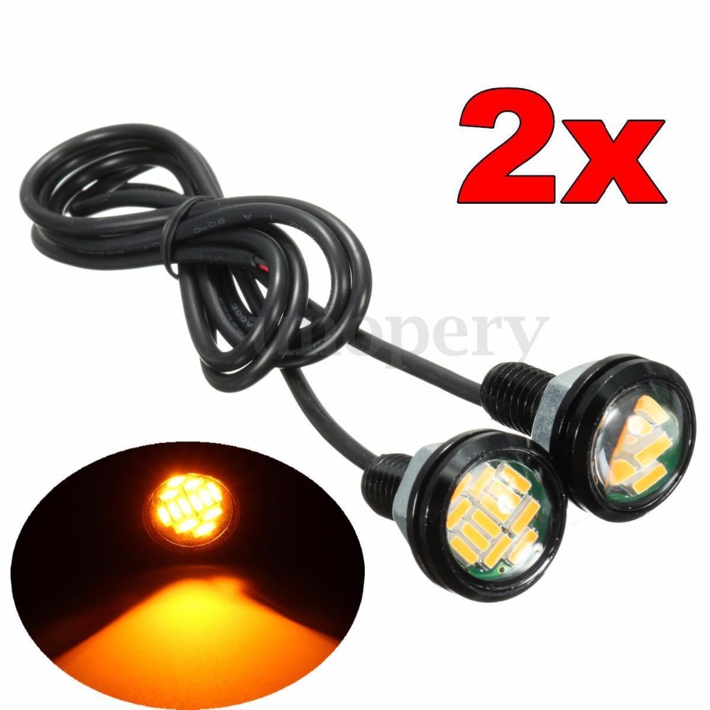 CYAN SOIL BAY 2X 23MM Motorcycle 12 SMD LED Eagle Eye Daytime Running Brake Light Lamp Bulb DRL Amber Yellow
