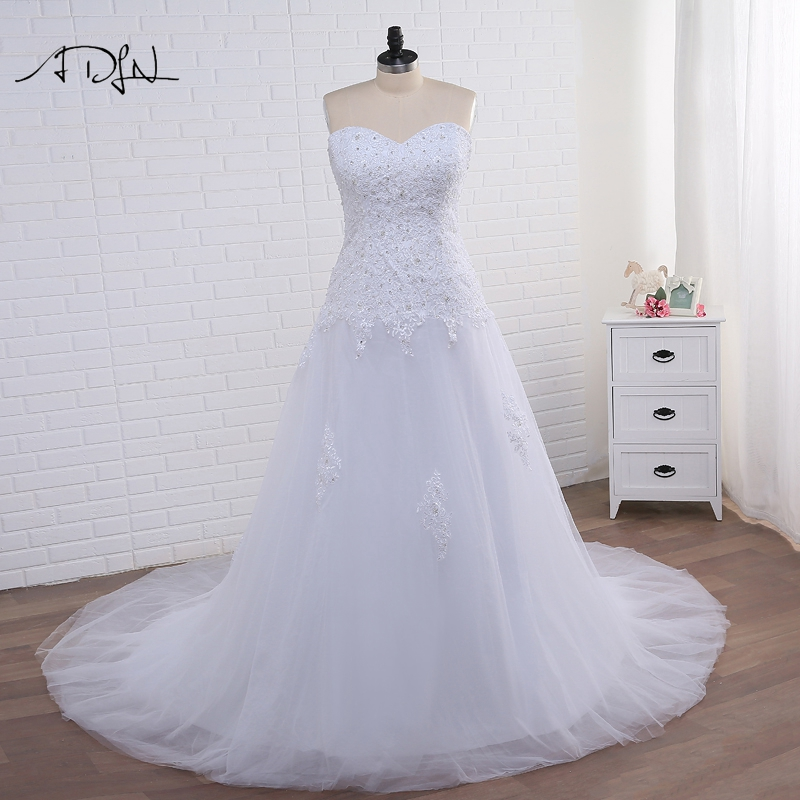 ADLN Elegant Korset Plus Size Mermaid Wedding Dresses Putih / Gading Tulle Applique Gaun Pengantin dengan Lace-up Vestidos de Novia