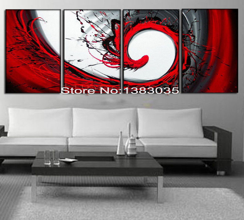 Flying Bird Hand Painted Black White Red Canvas Art Oil Painting Modern Abstract 4pcs Set Wall Decor Picture For Living Room Wall Decor Picture Decorative Picturespicture For Living Room Aliexpress