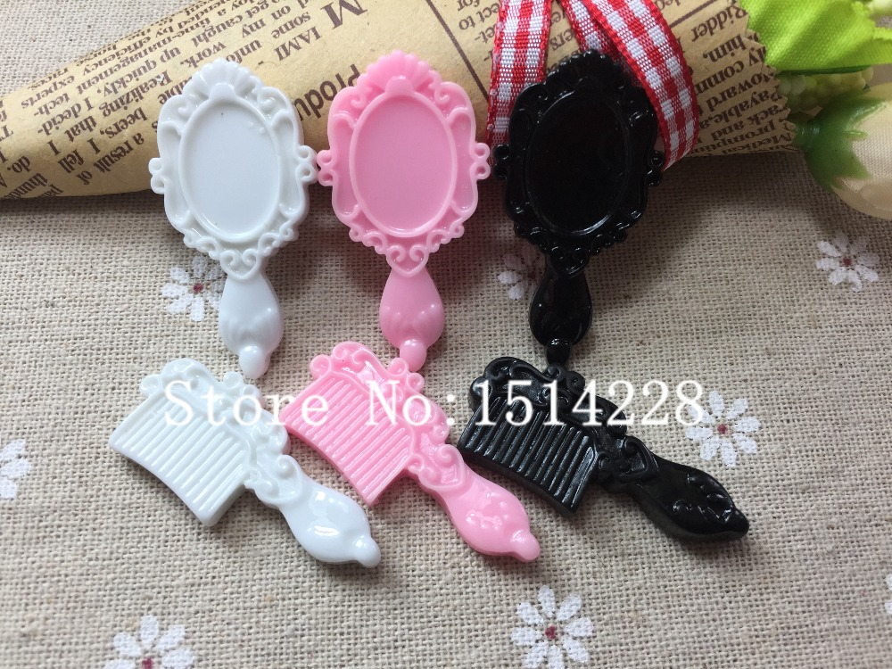 Free shipping!  Cute mirror and comb. Resin Flatback Cabochon for Phone Embellishment,DIY