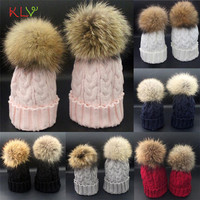 Winter Berets Hat Fur Wool Knit Warm Cap Mom And Baby 17SEP25
