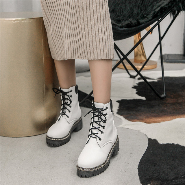 YMECHIC 2018 Autumn Platform Shoes Ankle Boots for Women Plus Size Black White  Lace Up Punk Rock Street Gothic Shoes Sneakers ae56432804bd