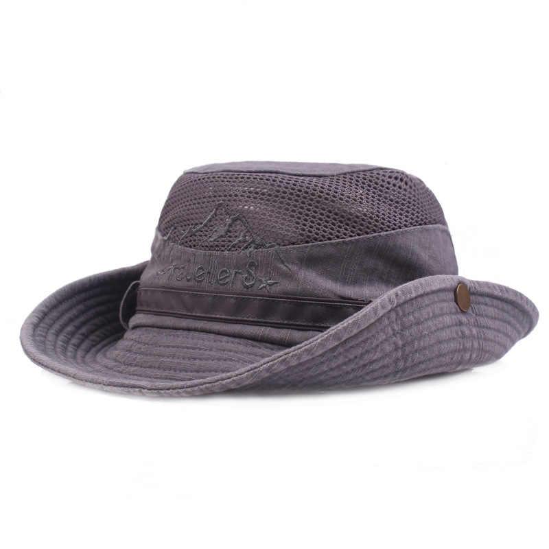 d44be7bcd40 ... Wide Brim Fishing Cap Fisherman Bucket Hat Outdoor Hiking Sombrero Lady  Men Breathable Mesh Sunshade Visor ...