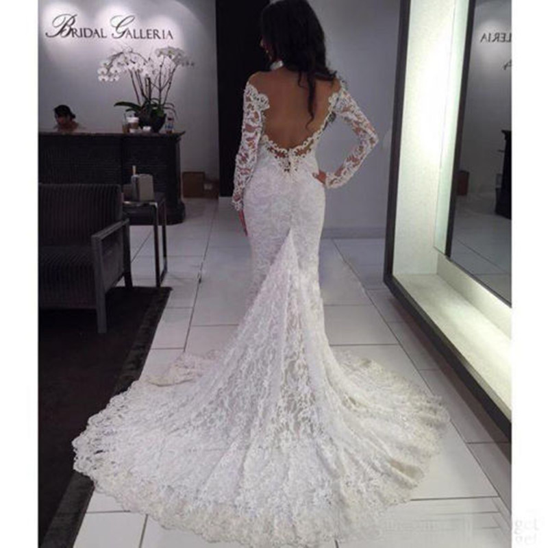 a55525f9e43 MZY0207 Sexy Off Shoulder Berta Lace Backless Long Sleeve Boho Mermaid  Wedding Dress Bridal Gown Vestido De Noiva Custom Made-in Wedding Dresses  from ...