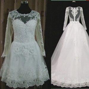 Image 5 - Vestido דה Noiva 2021 קצר שמלת או 2 em 1 חתונת שמלה ארוך שרוולים תחרה אשליה כלה שמלות
