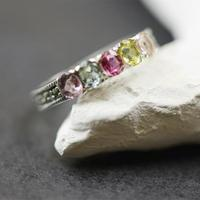 S925 Handmade Sterling Silver Inlaid Natural Tourmaline Gems Ring Ring Ring Sweet Colourful Female Luxury