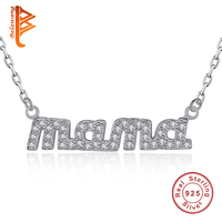 Genuine 925 Sterling Silver Pendant Necklaces Gifts Jewelry Love Family Simple Mama Necklace