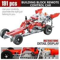 191PCS DIY Kit R/C 10 in 1 Race Cars Building Bricks Radio Control Racing Toy For Remote Controls toys 2sw0820