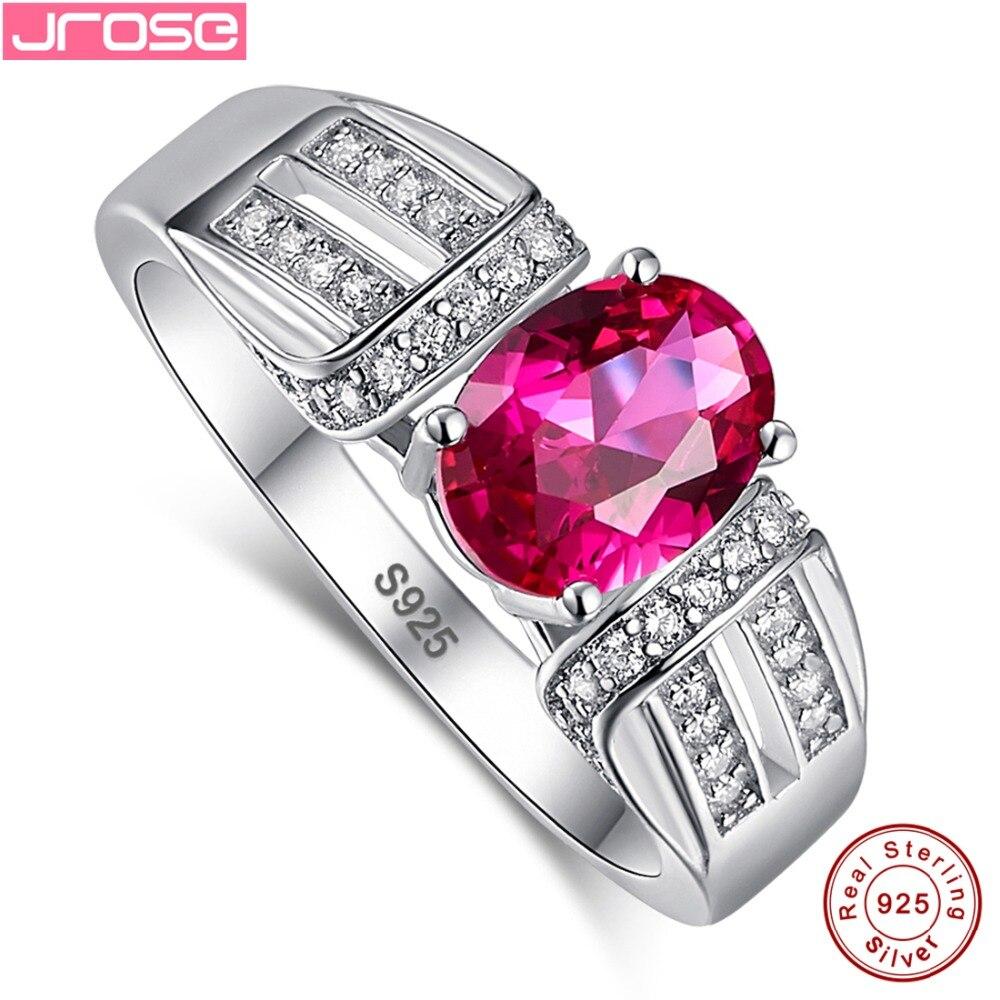 Jrose vacances cadeaux gros mariage classique ovale 1.45ct rouge et blanc cubique Zircon 100% 925 en argent Sterling taille de bague 6 7 8 9