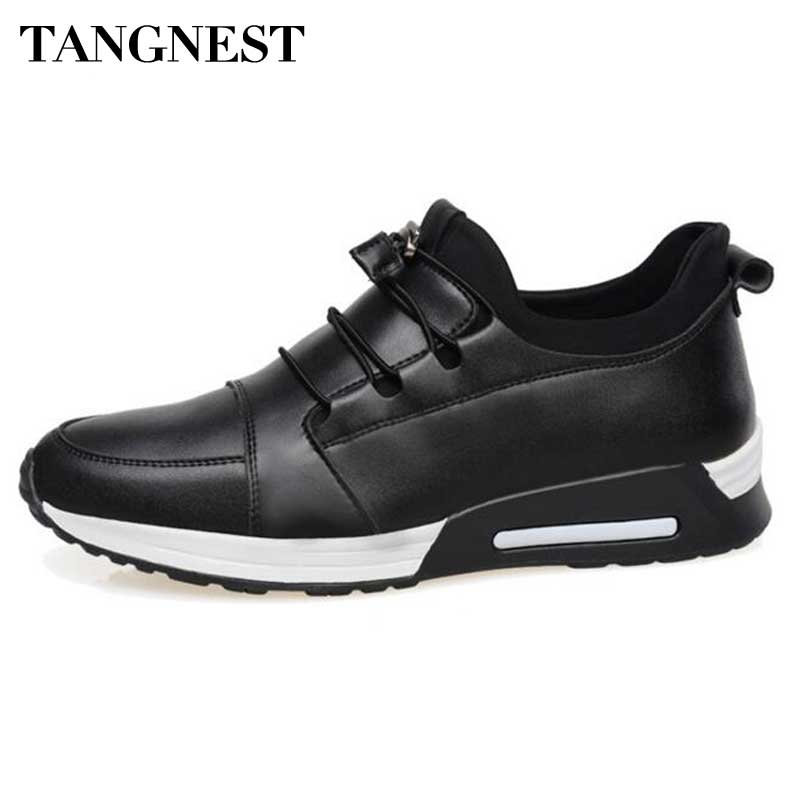 Tangnest 2017 Men PU Leather Casual Shoes Solid Slip on Height Increased Flats For Male Leisure Footwear Man Loafers XMR2421