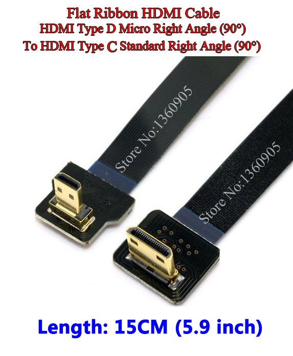 15CM 5.9'' Ultra Thin HDMI Cable Right Angle 90 degree Mini Type C To D Micro Right Angle 90 degree Flat Ribbon HDMI Cable FPV 3pcs hdmi female to hdmi micro male 90 right angle extension cord hd version 1 4 connector cable for tv 15cm free shipping