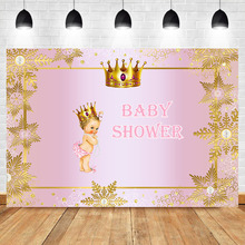 NeoBack Royal Princess Baby Shower Backdrop Girl Gold Crown Photography Backdrops Little Pink Party Background