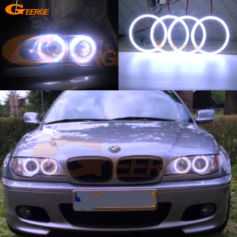 For BMW 3 Series E46 325ci 330ci Coupe Cabrio 2004 2005 2006 Excellent Ultra bright illumination COB led angel eyes kit for bmw 3 series e46 2door facelifted coupe 2004 2005 2006 carbon fiber black front grille grill left