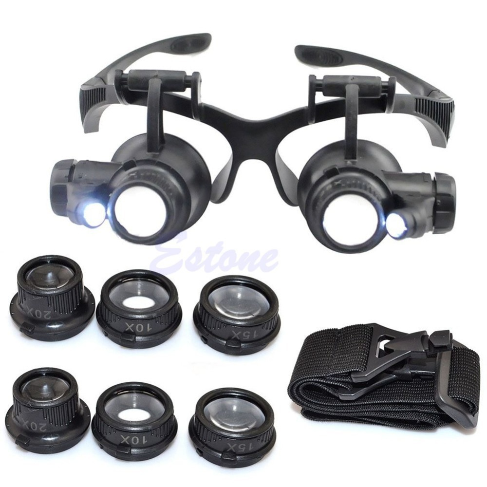 10X 15X 20X 25X LED Double Eye Jeweler Repair Watch Magnifier Loupe Glasses Lens