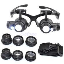 10X 15X 20X 25X LED podwójne oko jubiler naprawa zegarek lupa lupa szkła do okularów tanie tanio OOTDTY Styl noszenia D10533 Led light