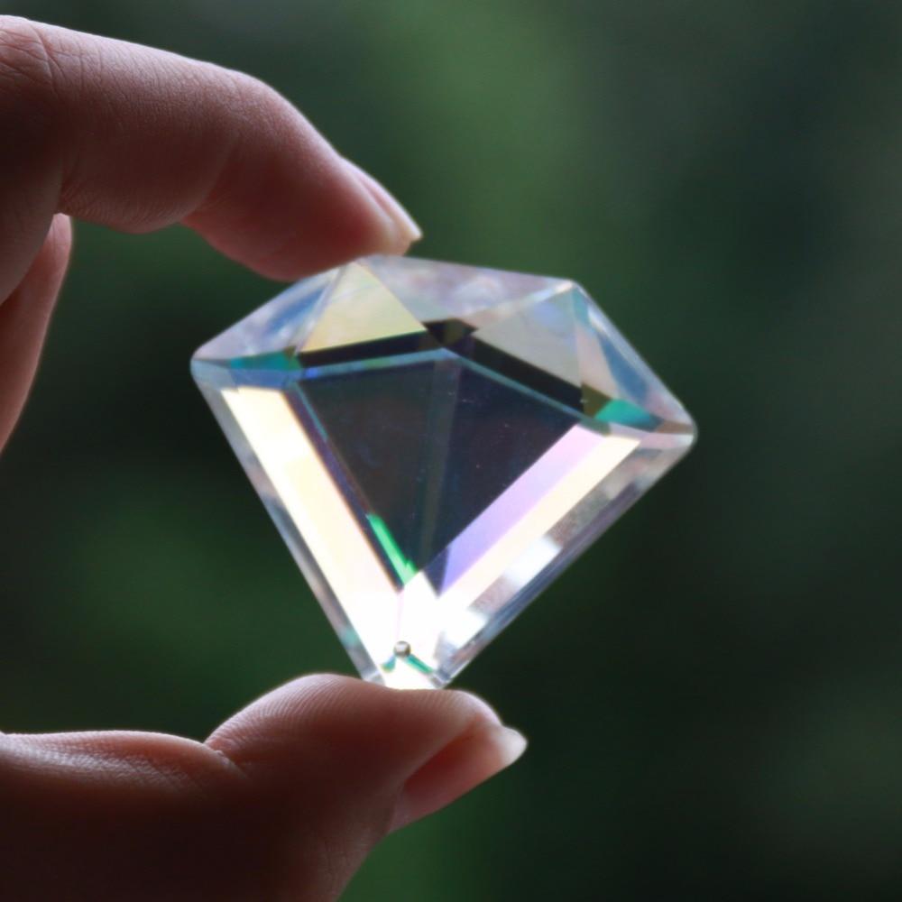 New! Rainbow Suncatcher Oblate Diamond Glass Prism Chandelier Crystal Lamp Part Hanging Jewel Pendant Decoration DIY Beads 40MM
