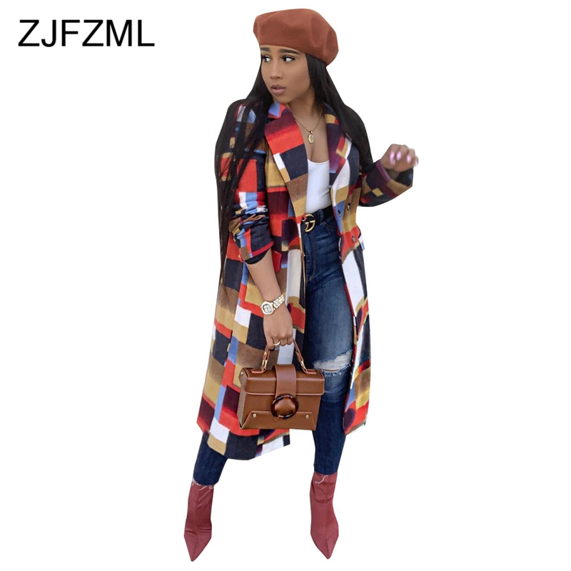 Geometric Turn-down Collar Sexy Slim   Trench   Women Winter Long Sleeve Panelled Causal Long Coat Femme Club Button Up Overcoat
