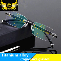 Fashion Rimless Men Style Titanium Alloy Progressive Reading Glasses Quality Square Multifocal Presbyopia Glasses Frame For