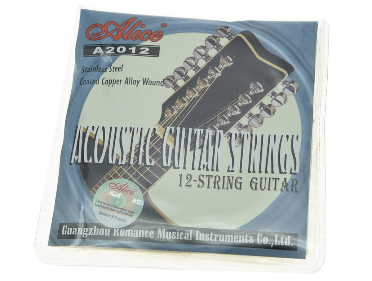 Alice 12-String Acoustic Folk Guitar Strings 1 - 12 번째 스테인레스 스틸 코팅 구리 합금 상처