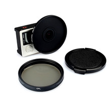 цена на 52mm Alloy Adapter Ring + CPL Circular Polarizer Filter + Lens Cap Filtor Protector for Gopro Hero 3/3+/4