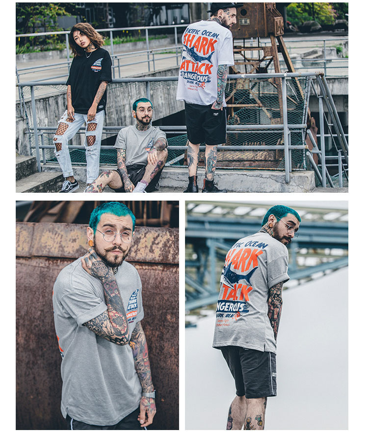 Aolamegs T-shirt Men Dangerous Big Shark Printed Short Sleeve Tee shirt Fashion Street Hip Hop Creative Tops Couples T shirts (9)