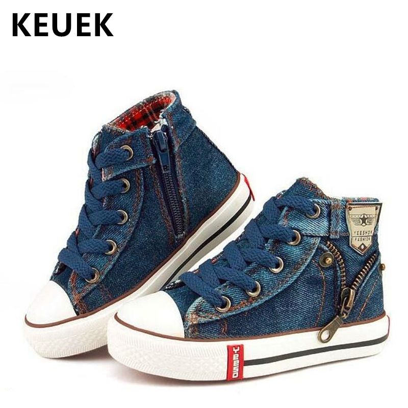 NEW 2018 Children Canvas Shoes Sport Breathable Boys Sneakers Brand Kids Shoes Girls Jeans Denim Casual Child Flat Boots 25-37