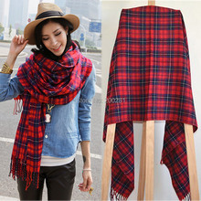 Women Plaid Tartan Scarf Oversized Neck Warm Shawl Checked Wrap Pashmina Stole Cashmere Plaid Tassel Shawl Wrap Scarf 190x61cm