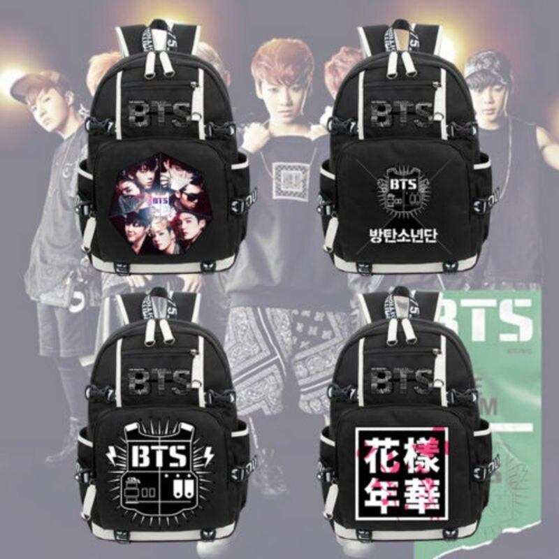 New BTS/Bangtan Boys Member Backpack Black Unisex Laptop Shoulder Bags Knapsack Packsack Travel School Student Bag Gift