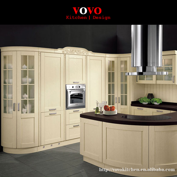 Modern Solid Wood Kitchen Cabinet With Round Island-in