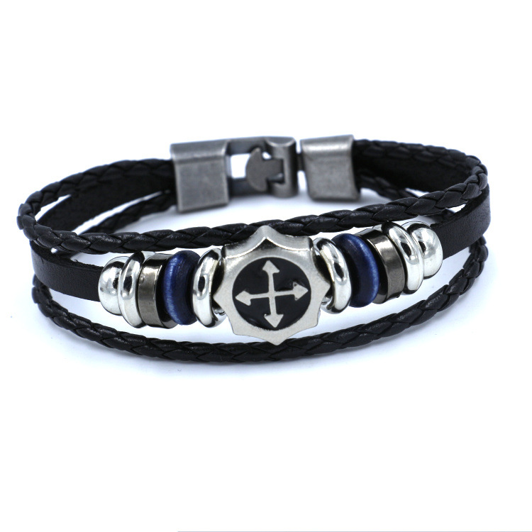 0239a5e5778 Fashion Jewelry 2016 Alloy Anchor Leather Bracelet Men Casual Personality  Skull Braided Bracelet Vintage Bracelet   Bangles