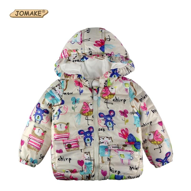Winter Girls Jackets & Coats Graffiti Enfant Parkas Hooded Baby Girl Outerwear Cartoon Animals Children Clothing Kids Jackets