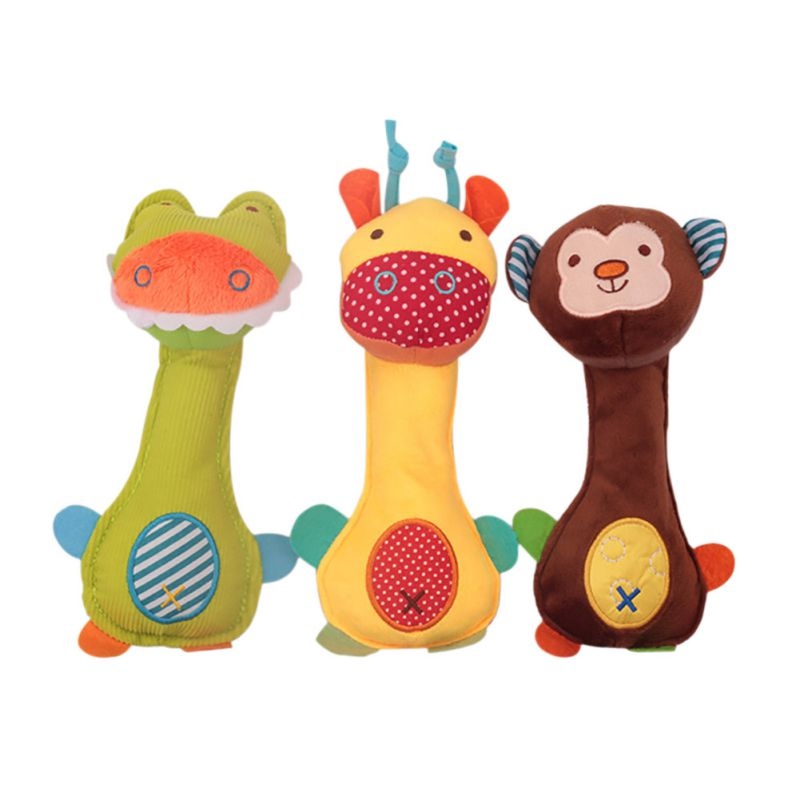 Bearoom Baby Rattle Mobiles Cute Baby Toys Cartoon Animal Hand Bell Rattle Soft Toddler Plush Bebe Toys