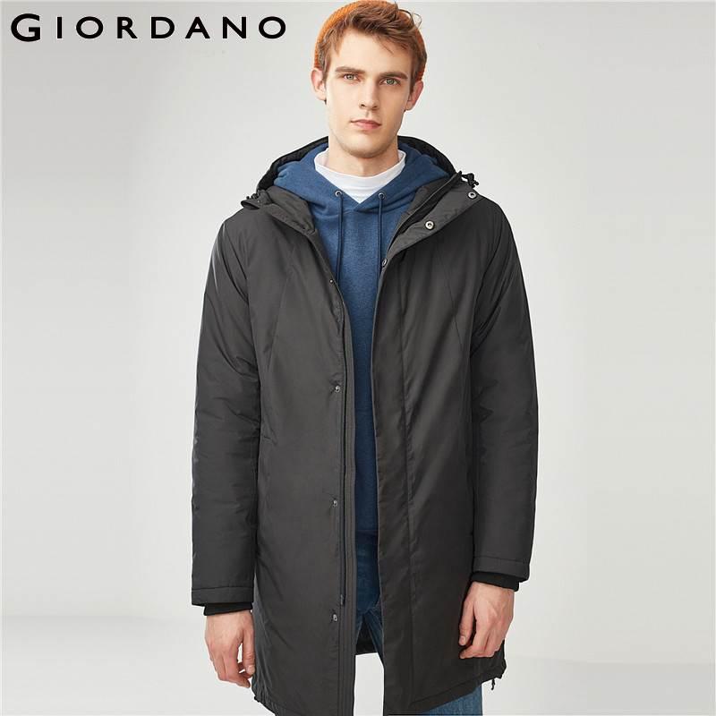 Giordano hommes veste hommes couleur uni à capuche longue matelassée veste hommes Simple Style réglable capuche Zip Placket hiver veste hommes