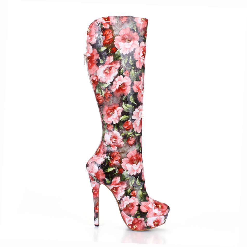CHMILE CHAU Moda Seksi Tanışma Parti Ayakkabı Kadın Yuvarlak Ayak Stiletto Yüksek Topuklu Bayan Diz Yüksek Çizmeler Zapatos Mujer 3463BT-q3