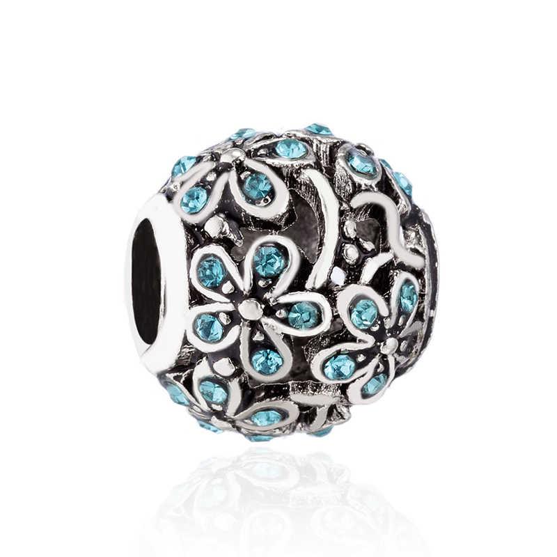 Venda quente Luxuoso Pé Flor Coelho Arco Cruz Crânio Mickey Contas Fit Pandora Encantos Colares para As Mulheres Do Partido Presente DIY jóias