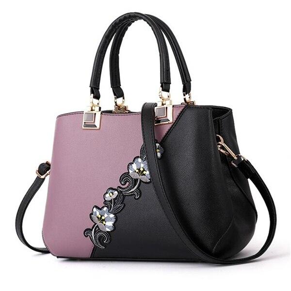 Модные женские Сумки из искусственной кожи, сумки с вышивкой, брендовая роскошная сумка на плечо, хит цвета, ручная сумка с верхней ручкой, сумка-почтальон с цветами - Цвет: Purple