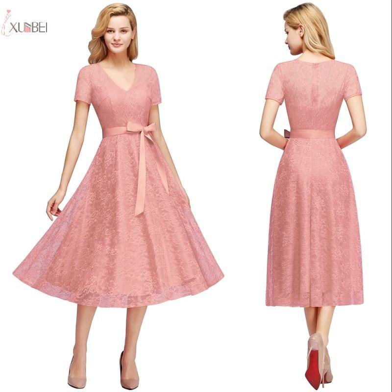 2019 Elegant Sexy Pink Short   Prom     Dresses   Floral Lace V Neck Sleeve   Prom   Gown Vestidos de gala