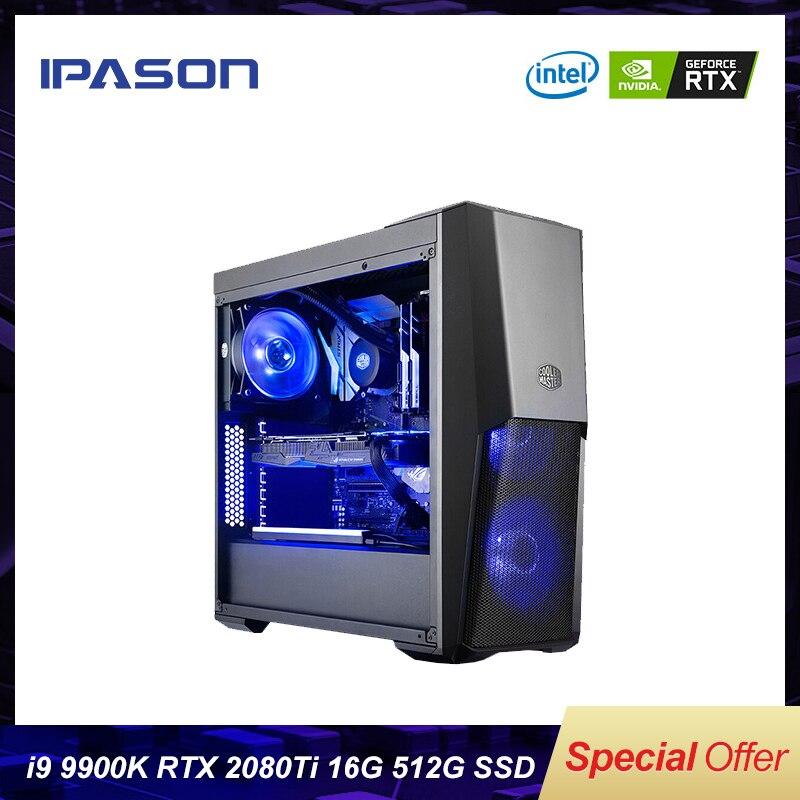 Ipason P9 poder + PLUS + computadora de juegos 8 Intel core i9 9900 k 512G SSD DDR4 8G 16G G RAM 2080ti 11G PC de juegos