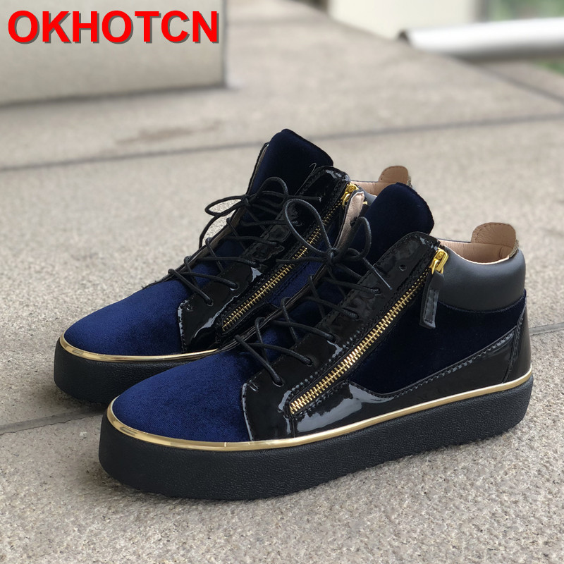 Lace Up Men Patent Shoe Mixed Colors Sneakers Gold Bordered Casual Shoes Height Increasing Shoes Men Blue Thick Sole Trainers 46