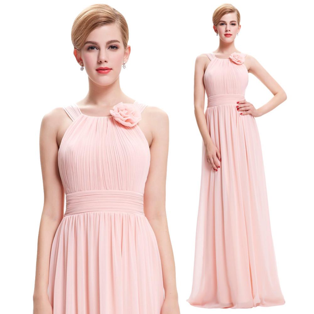 Elegant Pink Long Chiffon Beach Bridesmaid Dress