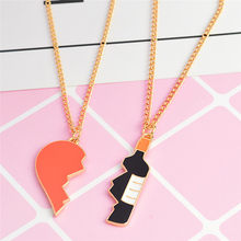 2Pcs/set Best Friends Lovers Half Heart Wine Bottle Pendant Necklaces Bff Friendship Creative Jewelry Christmas Gift(China)