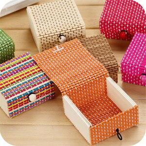 Image 1 - Бамбуковая деревянная настольная корзина для хранения, контейнер для мелочи, органайзер для ювелирных изделий, коробка для хранения, ремешок, ремесло, квадратный чехол, органайзер, чехлы