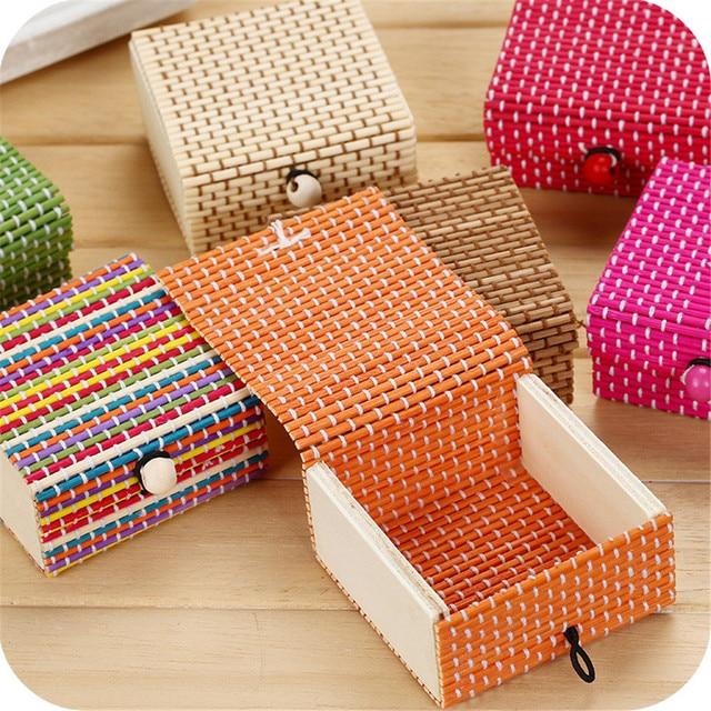 Бамбуковая деревянная настольная корзина для хранения, контейнер для мелочи, органайзер для ювелирных изделий, коробка для хранения, ремешок, ремесло, квадратный чехол, органайзер, чехлы